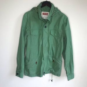 Levi's Olive Green Hooded Utility Zip Up Jacket